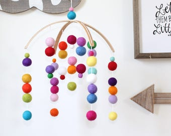 RAINBOW Felt Ball Mobile, Baby Mobile, Crib Mobile, Nursery Cot Mobile, Pom Pom Mobile, Nursery Mobile, Gender Neutral, Baby Felt Mobile