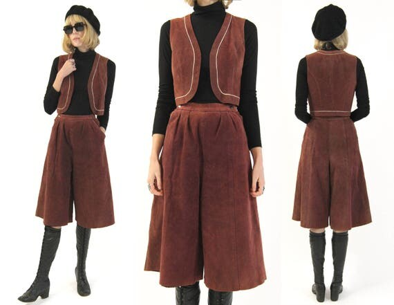Vtg 70s Suede Culottes + Vest Two Piece Set S