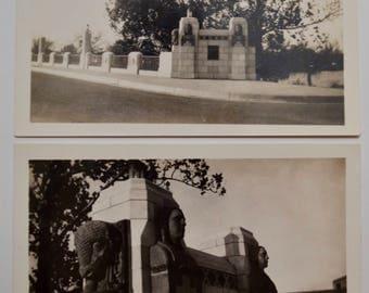1920s art deco / Native American style school and bridge photograph, set of three, North High School and Minisa Bridge Wichita, Kansas