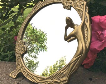 Art Nouveau Mirror Solid Brass Woman Figural Nymph LookingIn Mirror Adorned with Flowers
