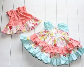 Infant Girl Ruffle Dress and Shorts - Girls Floral Outfit - Baby Coral Shorts - Floral Ruffle Dress - Coral Dress - Baby Ruffle Shorts