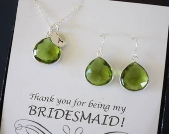 9 Monogram Bridesmaid Necklace and Earring set Green, Bridesmaid Gift, Green Quartz, Sterling Silver, Initial Jewelry, Personalized