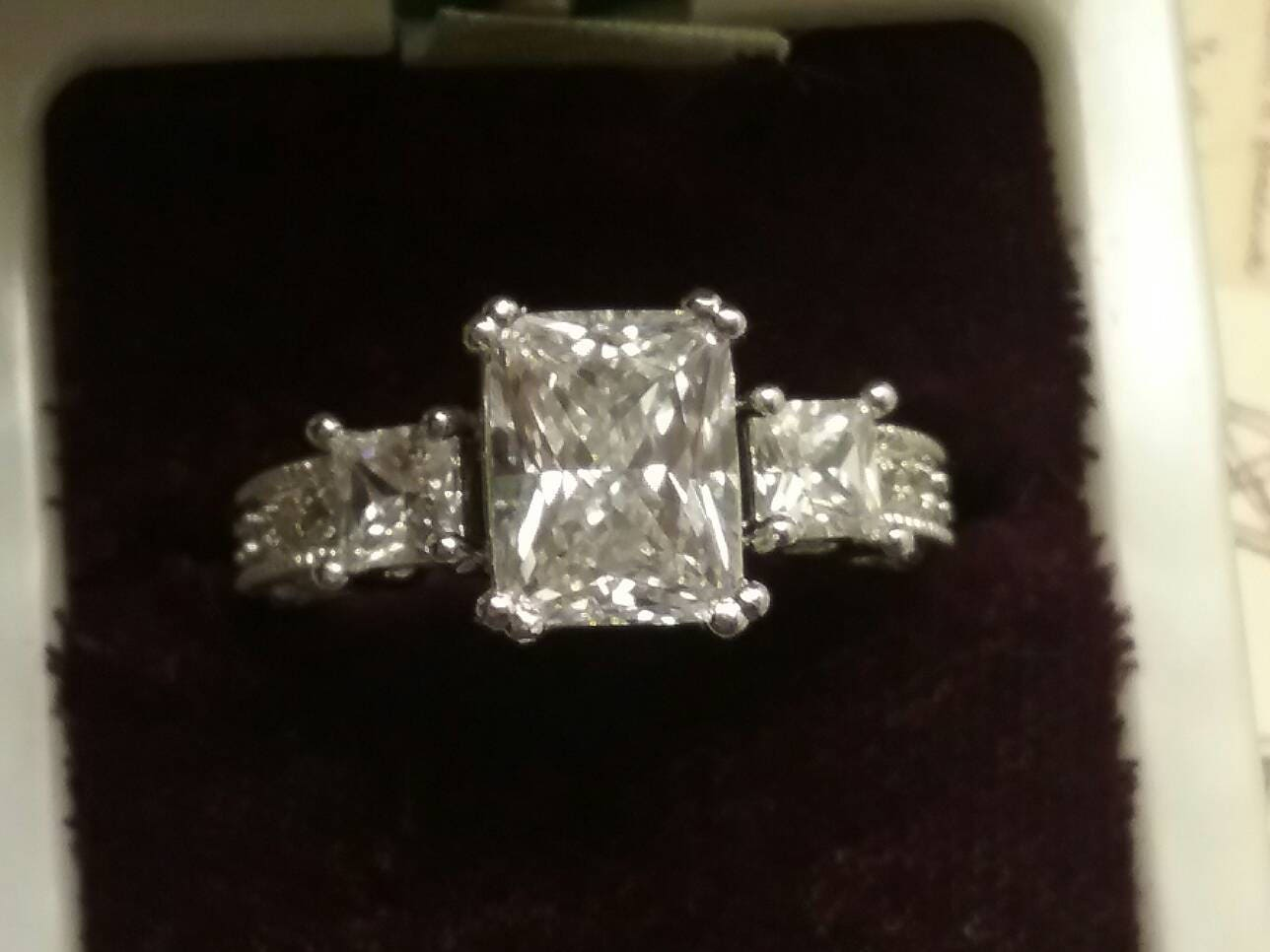 Antique Style Radiant Emerald Cut Engagement Ring