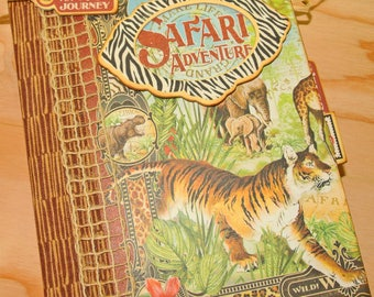 Scrapbook Mini Album Handmade - African Safari / Zoo theme