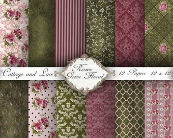 SALE Floral Digital Paper,  Rose - Green Paper Pack, Scrapbooking Paper, Instant Download,  No 1234