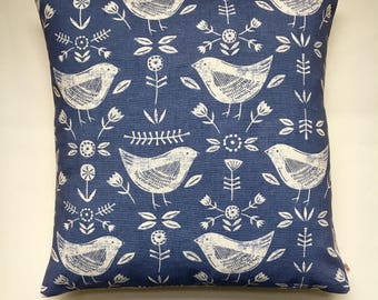 "Scandi Birds blue cushion cover 16"" (40cm x 40cm) cushion pillow cover Fryetts Narvik cotton fabric 16 inch"