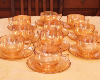 10 Sets Jeannette Moderne Cups and Saucers Marigold Carnival Glass
