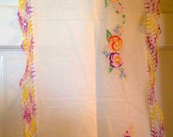 Antique  Heirloom Embroidery Linen Table Runner/ Dresser Scarf - Crochet Table Runner- Embroidered Flower 38 L X 15 W