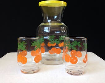 Orange Juice Carafe - Two Juice Glasses - Orange and Green - Breakfast Dining for Two