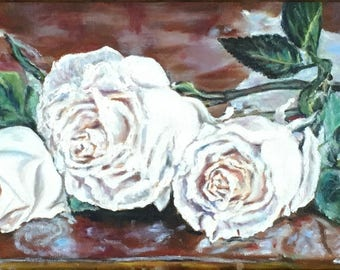 """Fine Art Original Oil Painting, Floral Painting, Still Life Painting 8"""" X 16"""" painting """"White Roses"""""""