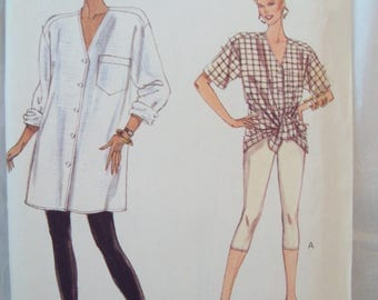 Loose Fitting Long Tunic Front Button Shirt and Leggings Very Easy Very Vogue Pattern 7733 Uncut Sizes 12, 14, 16