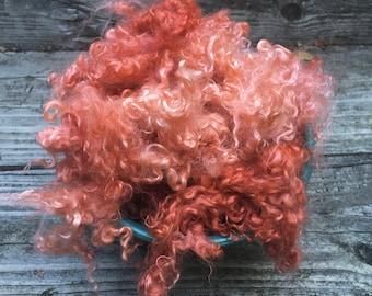 Dyed Kid Mohair Fleece, 2 Ounces, Spin, Felt, Doll Hair, Tiger Lily