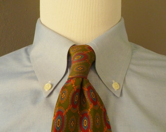 Vintage POLO by Ralph Lauren 100% Silk Equestrian Buckle & Strap / Geometric Medallion Patterned Trad / Ivy League Neck Tie.  Made in USA.