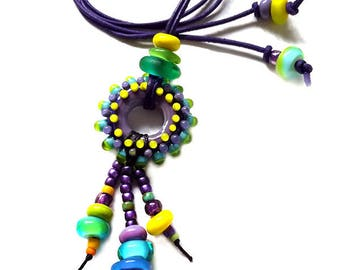 Hippie Chic - Art Glass - Lampwork Pendant / Necklace - Finest Murano Glass - by Michou Pascale Anderson