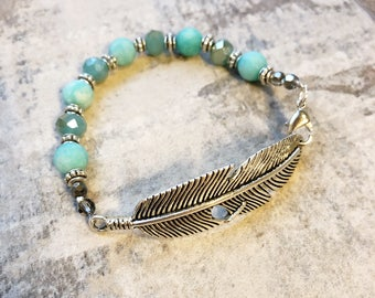 Turquoise Feather Bracelet - Agate and Czech Glass Feather Bracelet - Boho Feather Bracelet - Feather Jewelry - Turquoise Feather Jewelry