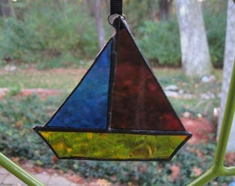 Stained Glass Sail Boat Multi Color