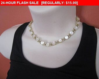 vintage mother of pearl bead choker necklace, vintage, retro