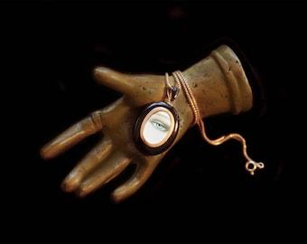 Sandra Hendler Original Hand Painted Miniature Painting of a Lover's Eye  In Victorian Black Enamel Locket