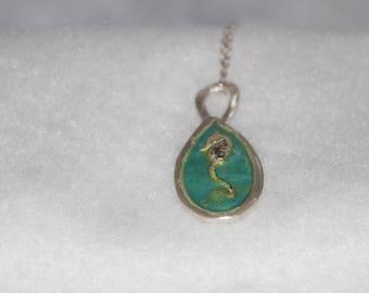 Sterling Silver Enameled Sea Horse Pendant