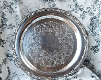 Vacay SALE...ships 7/8... Vintage silver plate tray...round WM Rogers tray...571.