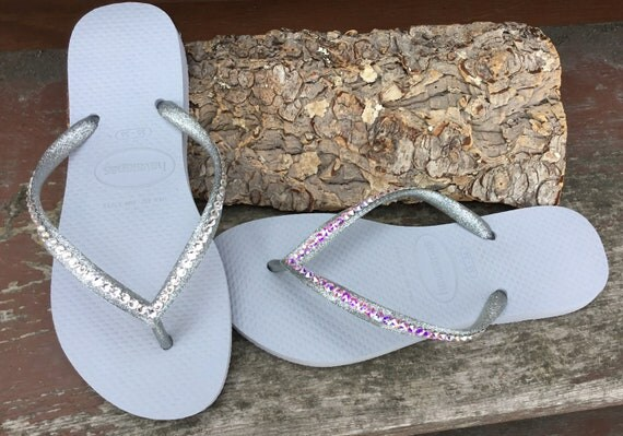 Silver Havaianas Slim Flip Flops Gray Glitter Grey w/ Swarovski Crystal Jewel Bling Sandals Rhinestone Beach Wedding Bridal Bride Shoes