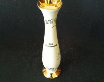 Pearl China 22 Karat Gold 50th Anniversary Bud Vase