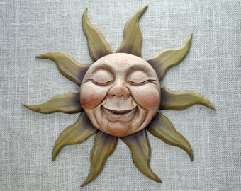 Sun Wood Carving, Hand Carved Wall Sculpture, Woodcarving by Mike Berlin