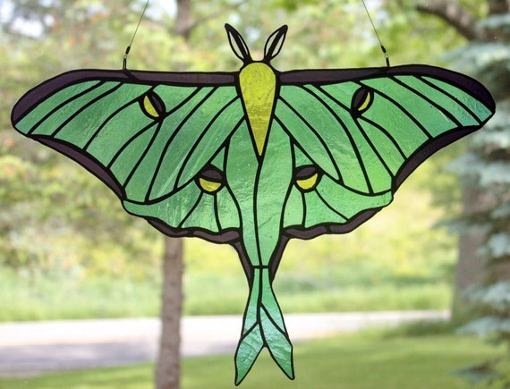 Stained Glass Luna Moth