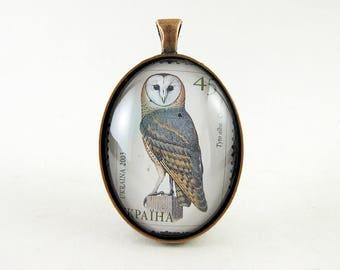 Barn Owl Pendant, 2003 Ukraine Postage Stamp Necklace, Wise Owl, Animal Jewelry, Bird, Nickel Free Antique Copper, Neutral, Owl Lover Gift
