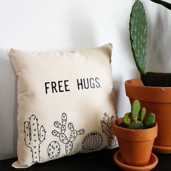 Handmade Amanda Serra Designs FREE HUGS Cactus Pillow - Handmade Custom Throw Pillow - Cactus Pillow
