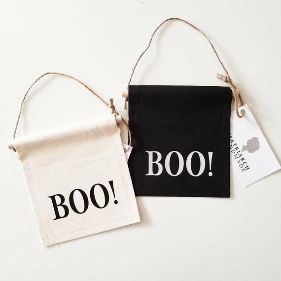"Handmade Mini Halloween ""Boo!"" Banner - Handmade Halloween Banner - Mini Halloween Doorhang"