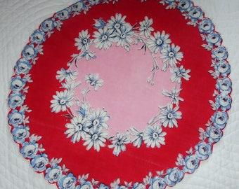 "Hankie, Ladies Round Floral hankie, 1940s handkerchief, Vintage Ladies accessory, Gift for her, Keepsake, Pink and red, 13"" round, Rare"