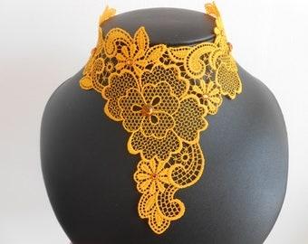 Yellow lace with Swarovski Crystal rhinestones