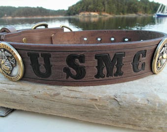 US Marines Dog Collar, USMC Dog Collar, Marine Corp Dog Collar, Leather Military Dog Collar