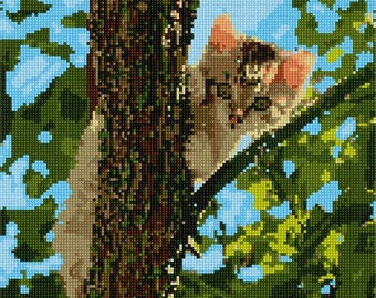 Needlepoint Kit or Canvas: Cat Up The Tree