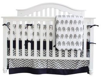 Grey & Blue Elephant Crib Bedding Set. Nursery Bedding. Baby Bumpers. Crib Sheet . Baby Crib Bedding