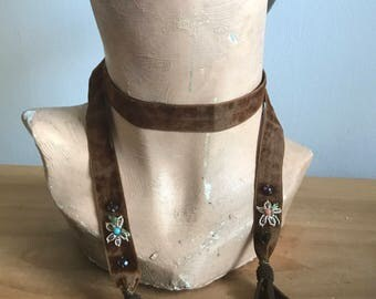Late 1890s/ Early 1900s Rust colored Silk Velvet Lariat with Embroidered Flowers, Glass Beads, Faceted Stones and Gold Bullion Tassels