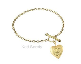 Monogram Locket Bracelet with Toggle Clasp - Hand Engraved Initials bracelet, Add Date Or Name On Back, Silver, Yellow Gold or Rose Gold