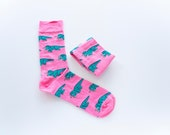 Dinosaur Socks, Triceratops Socks, Funny Socks, Cozy Socks, Cute Socks, Novelty Socks, Dress Socks, Pink Socks, Gift for Him, Gift for her