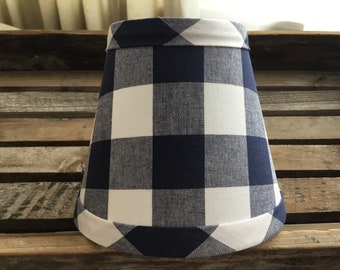 Navy And White Buffalo Check Gingham Chandelier Lampshade Large