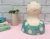 Ceramic swimmer, ceramic art, art sculpture, home decor, ceramic bust, gift
