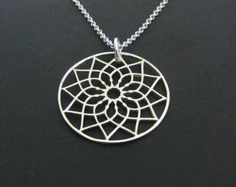 Flower Mandala Necklace, Ethnic Necklace, Sterling Silver Necklace, Pendant Necklace, Jewelry, Gift for her