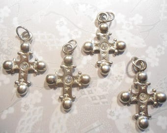 4 Silverplated 35mm Crosses with Rhinestone