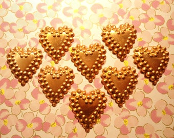 8 Vintage Solid Copper 30mm Embossed Hearts with or Without Hole