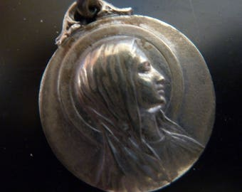 Antique Large Virgin Mary Silver religious French medal Our Lady of Lourdes signed Mazzoni Old Pendant Charm Jewelry 5MS1