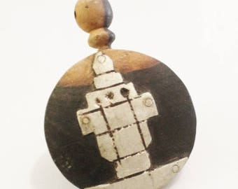 ON SALE Vintage African Ebony Wood Pendant from Senegal, Unique Jewelry Supplies (Z59)