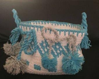 Hand crocheted basket