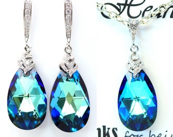 Blue Wedding Jewelry Swarovski Crystal Bermuda Blue Bridesmaid Gift Bridal Jewelry Blue Green Crystal Sterling Silver Hypoallergenic BB32JS