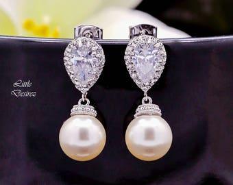 Pearl Earrings Drop Earrings Bridesmaid Pearl Earrings Cubic Zirconia Earrings Swarovski Pearl Earrings Bridal Earrings Wedding Jewelry P44P