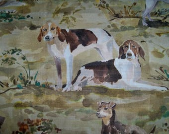 LEE JOFA KRAVET Hound Dogs Linen Fabric 10 Yards Cream Green Brown Multi